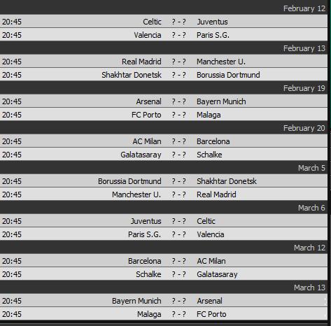 جدول مباريات دوري أبطال أوروبا - Champions League Schedule