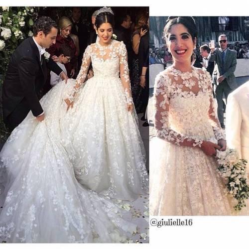 بالصور.. فستان العروس نور ابنة عصام فارس يخطف الأنظار