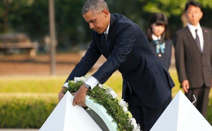 اوباما يزور هيروشيما لاول مرة بالتاريخ ويضع اكليل ورد