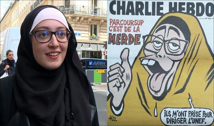 محجبة فرنسية تستفزّ صحيفة شارلي ايبدو